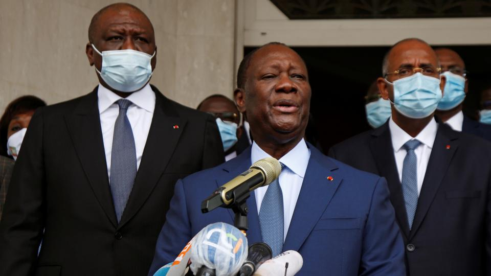 vory Coast's President Alassane Ouattara speaks to the media after submitting the application for October presidential election at the Independent Electoral Commission in Abidjan, Ivory Coast August 24, 2020. (Reuters)