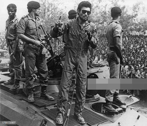 President Rawlings in his early days as Flt-Lt. Jerry John Rawlings after the coup in 1979